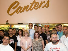 President Barack Obama poses with staff at Canter's Delicatessen in Los Angeles, July 24, 2014. (Official White House Photo by Pete Souza)