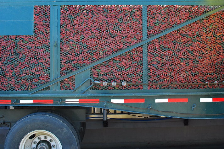 Chilies from Underwood Family Farms arrive at Huy Fong Foods