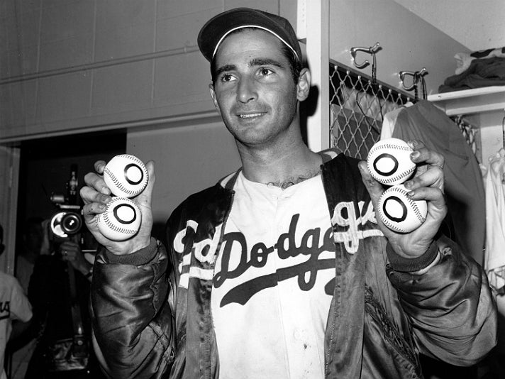 Sandy Koufax after pitching a perfect game, his fourth career no-hitter, on Sept. 9th, 1965