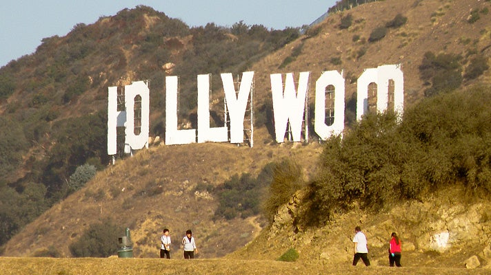 Hollywood Sign viewed from Griffith Park hiking trail