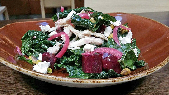 Roasted chicken beet salad at Ford's Filling Station LAX