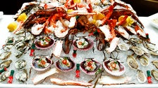 Iced shellfish display at Baltaire
