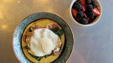 Creamy polenta bowl at Paper or Plastik