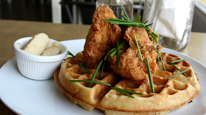 Buttermilk fried chicken and waffle at Poppy + Rose