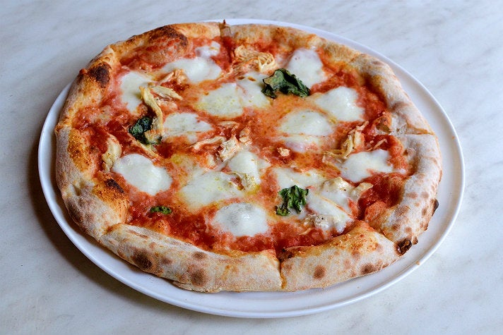 Margherita pizza with shredded chicken breast and Fontina at 800 Degrees