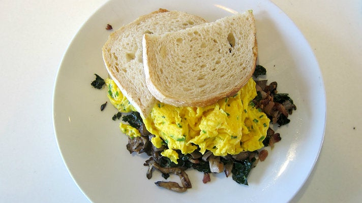 Forest mushroom scramble at LAMILL Coffee