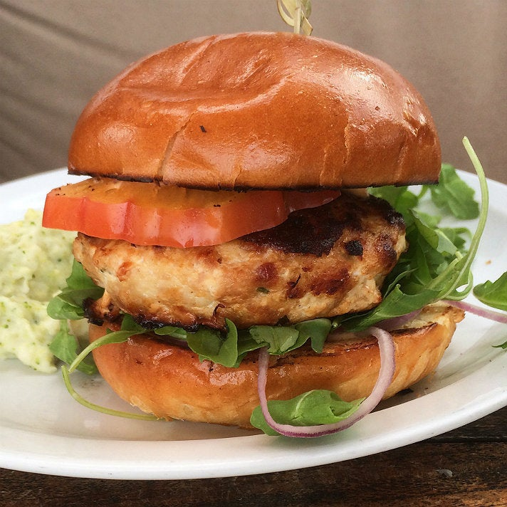 Chicken + Ricotta + Bacon Burger at Malibu Farm Pier Cafe