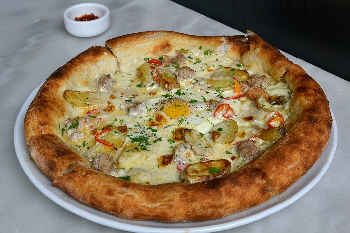 Breakfast pizza at Milo and Olive