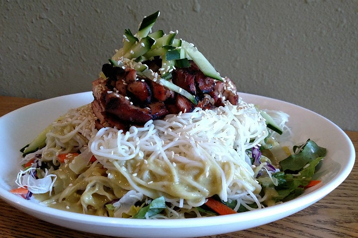 Cold noodle salad with BBQ chicken at Ohana BBQ