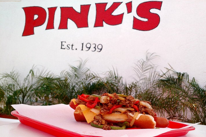 Pink's Philly Cheesesteak Hot Dog