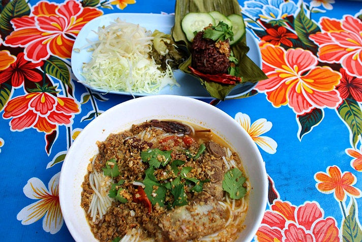 Northern Thai noodles, steamed rice and pig's blood at Pok Pok