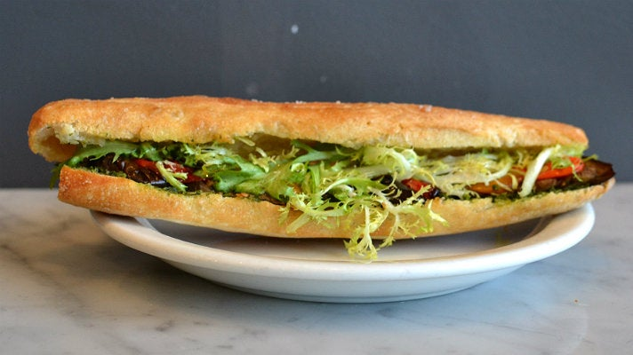 Eggplant sandwich at Proof Bakery