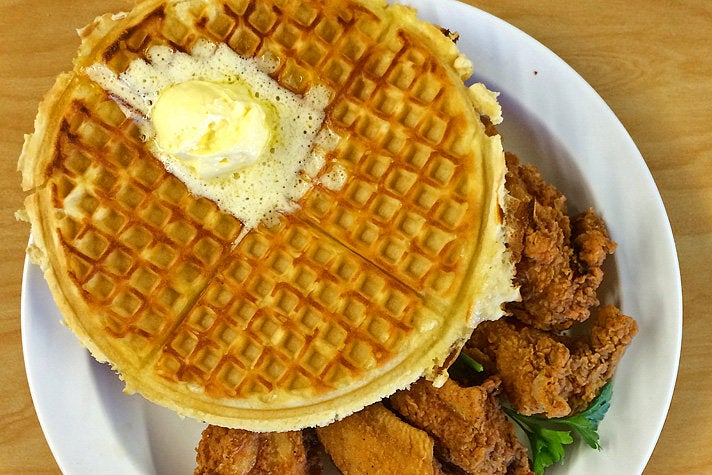 """""""The Cookie"""" with waffles and chicken wings at The Serving Spoon"""